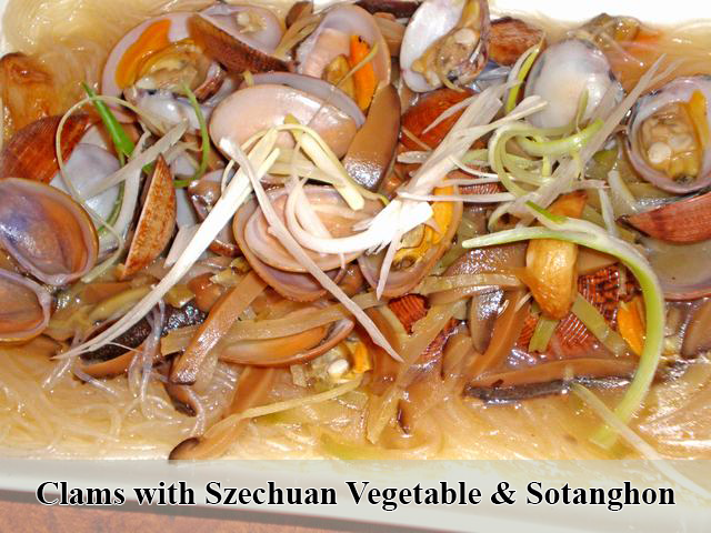 Clams with Szechuan Vegetable & Sotanghon