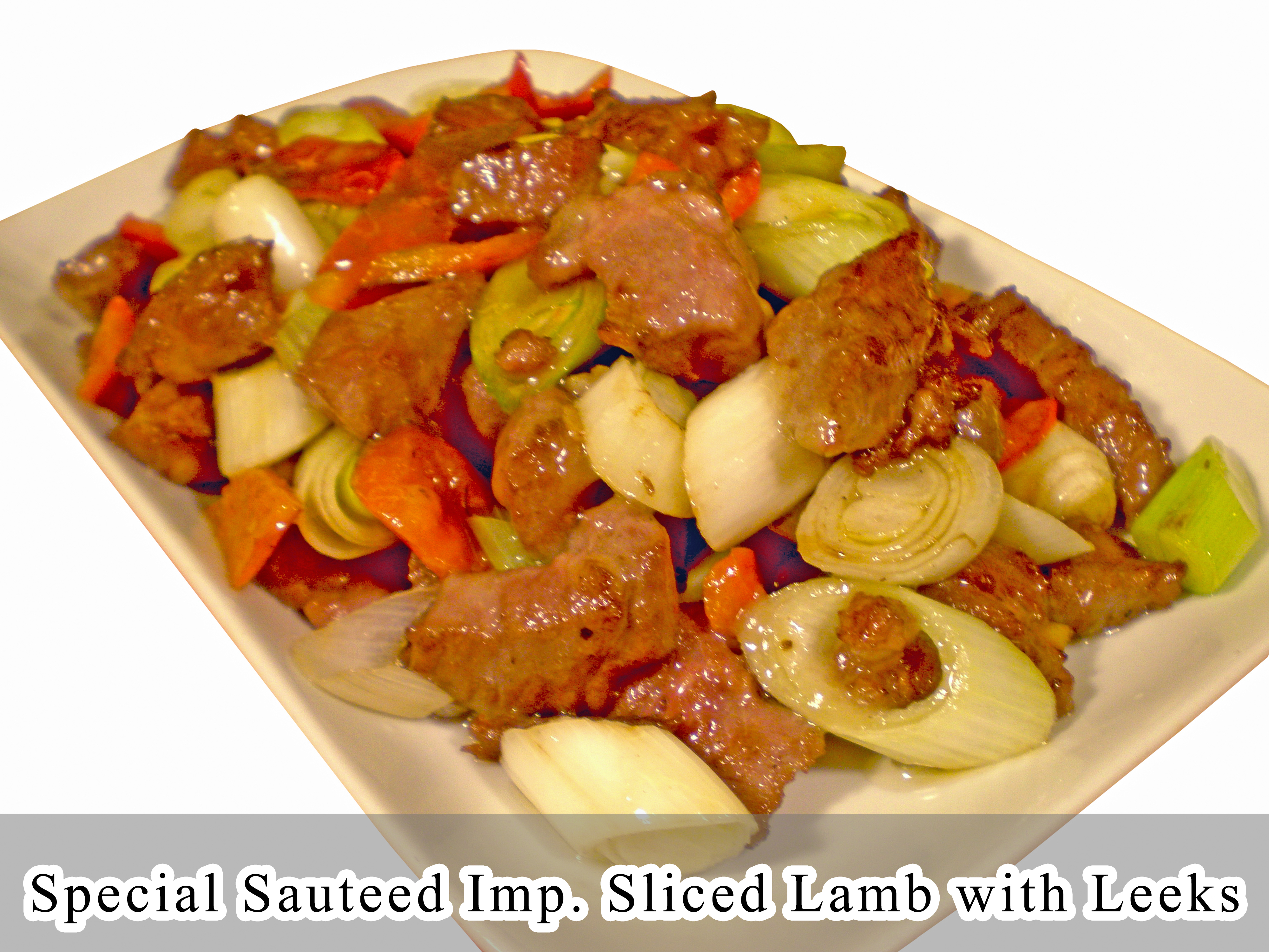 Special Sauteed Imp. Sliced Lamb with Leeks