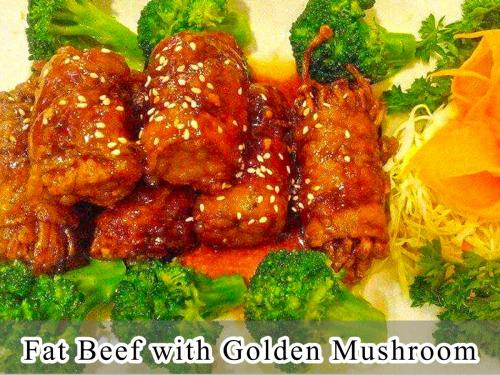Fat Beef with Golden Mushroom